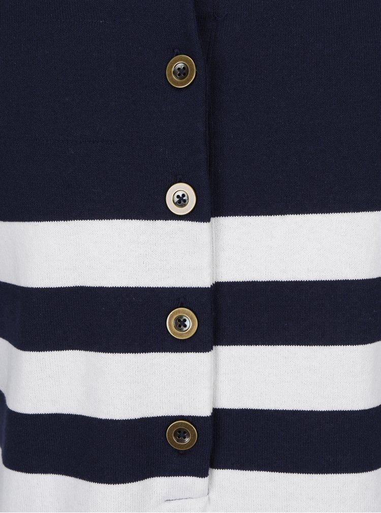 Bílo-modré pruhované svetrové šaty s 3/4 rukávem Tom Joule