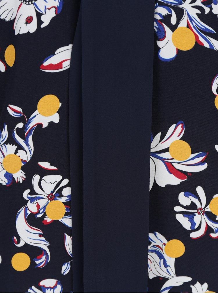 Modré květované šaty s vázáním na krku Tommy Hilfiger Mia