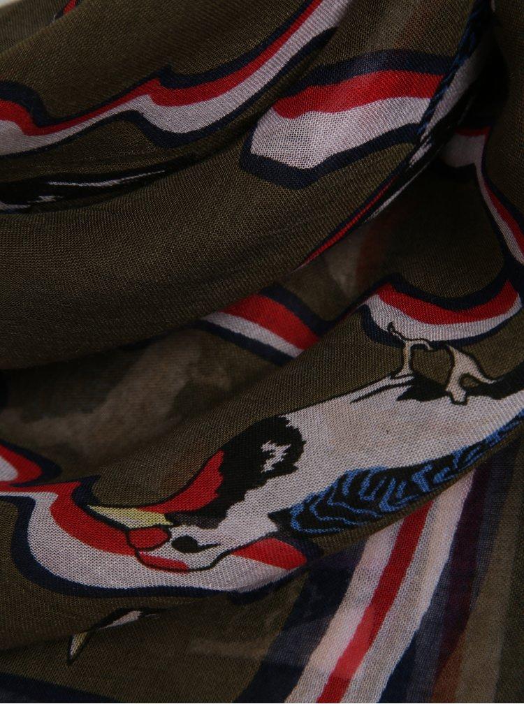 Tmavě zelený dámský šátek se vzorem Tommy Hilfiger