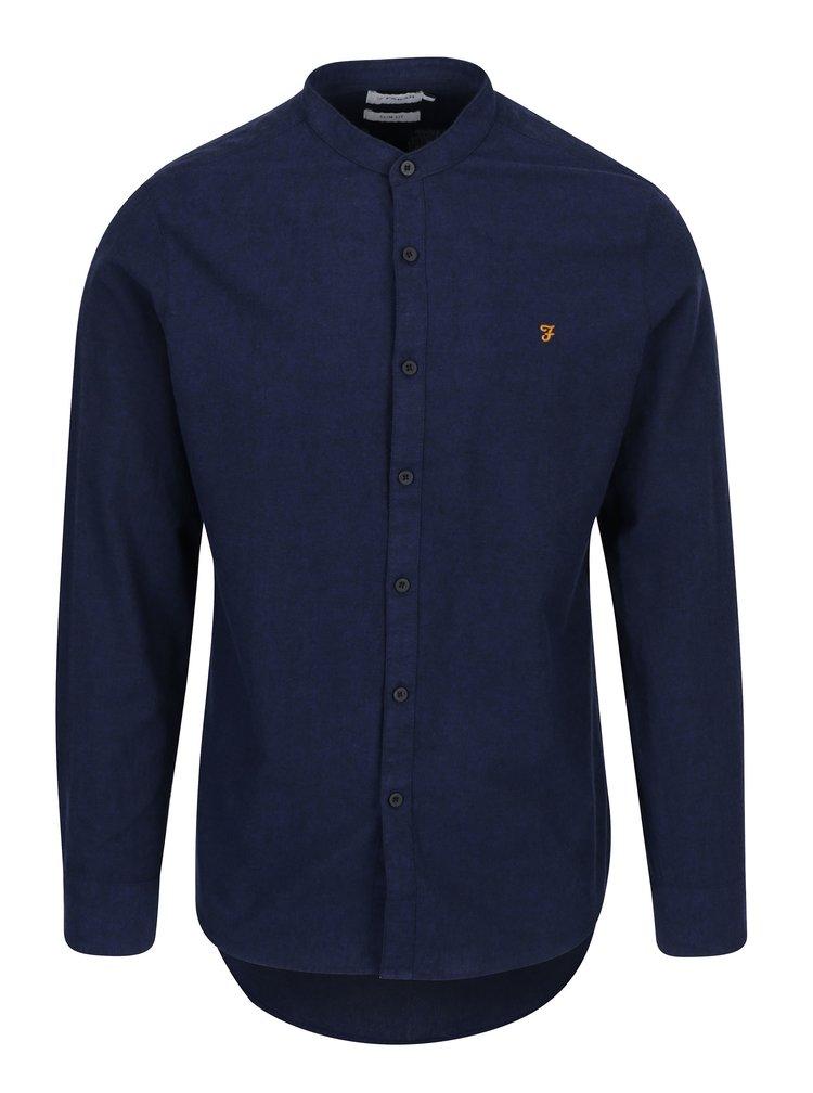 Tmavě modrá slim fit košile bez límečku Farah Steen