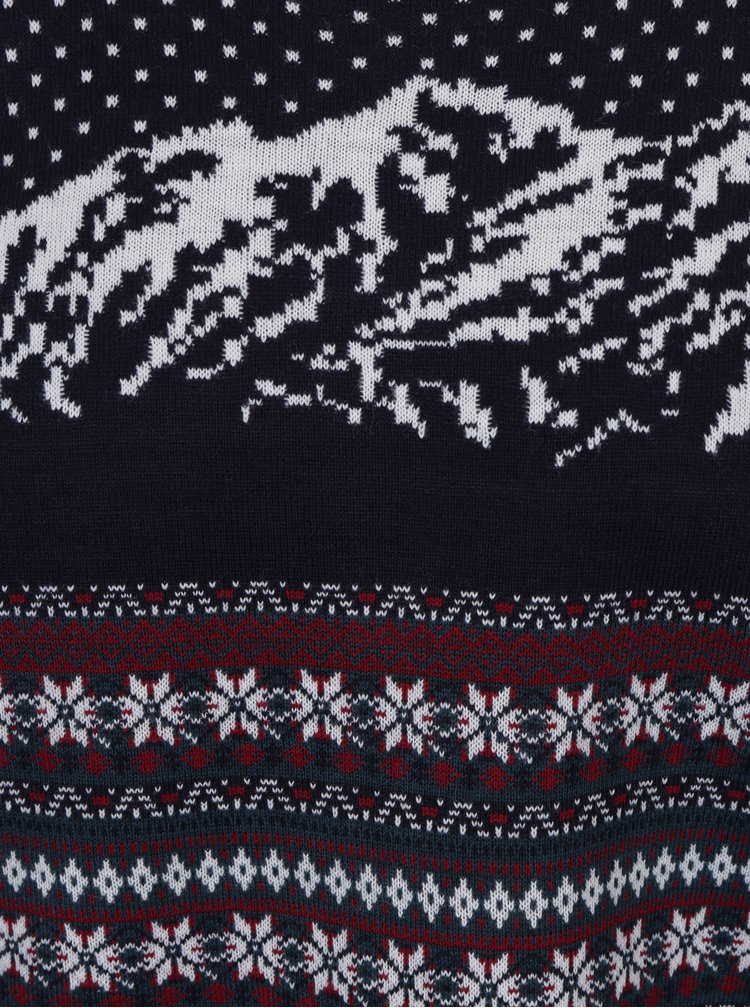 Tmavě modrý svetr s motivem hor Burton Menswear London
