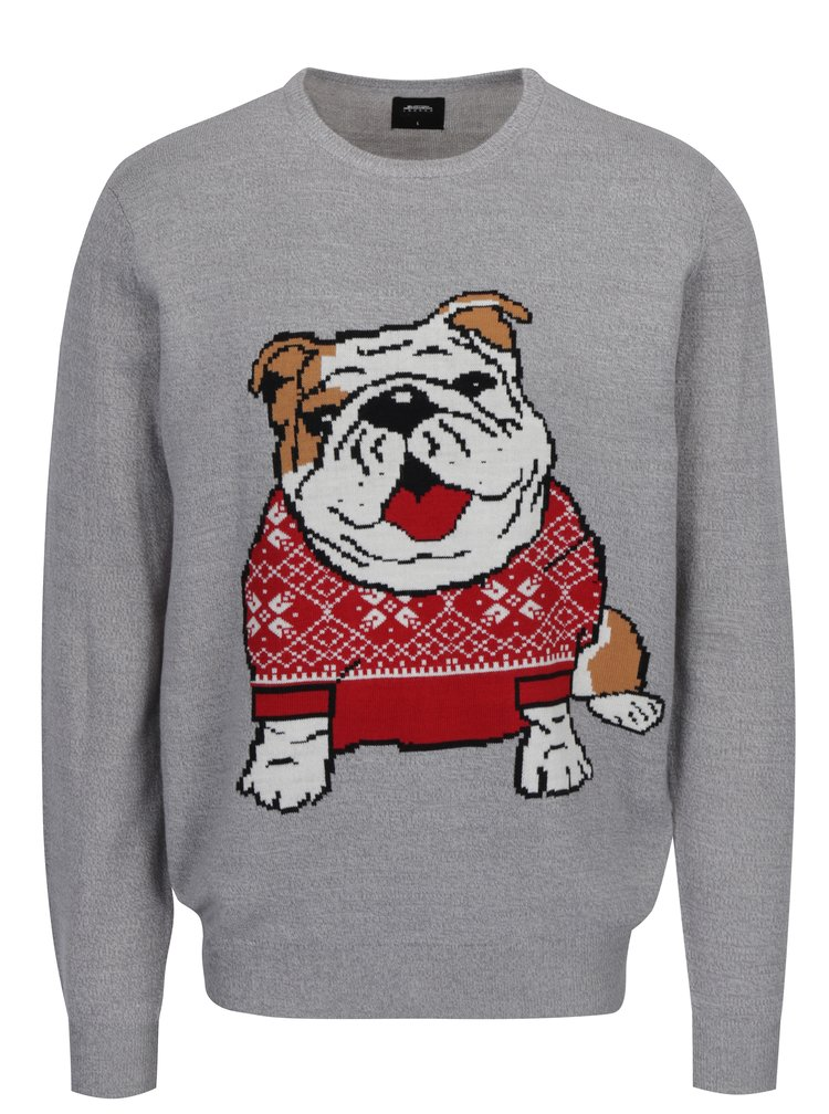 Pulover gri deschis cu model bulldog Burton Menswear London
