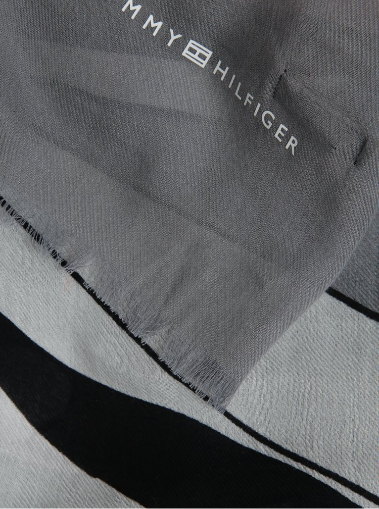 Sivá dámska šatka so vzorom Tommy Hilfiger Flower