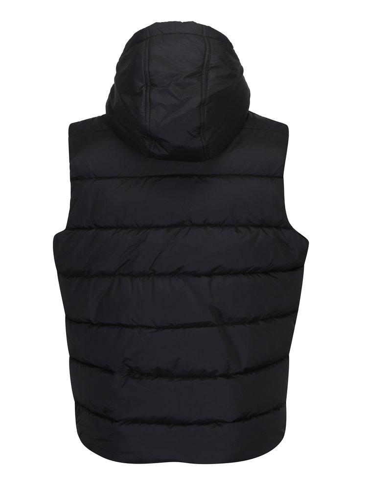 Černá prošívaná vesta s kapucí Burton Menswear London