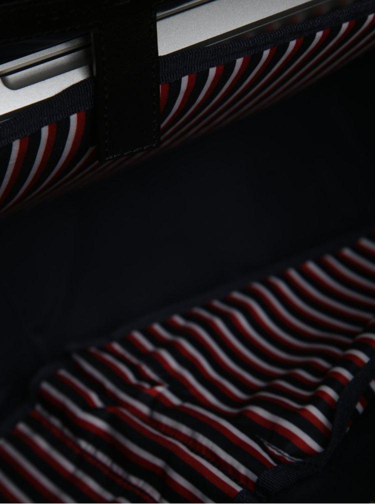 Černá pánská kožená taška na notebook Tommy Hilfiger