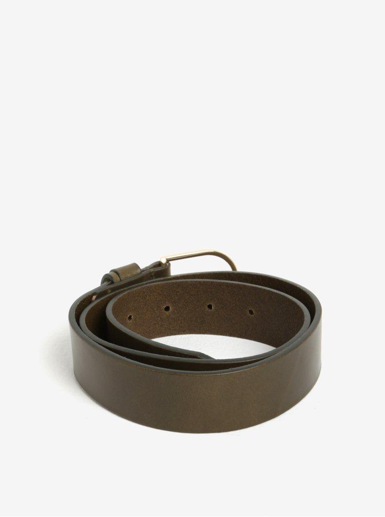 Tmavě zelený dámský kožený pásek Tommy Hilfiger