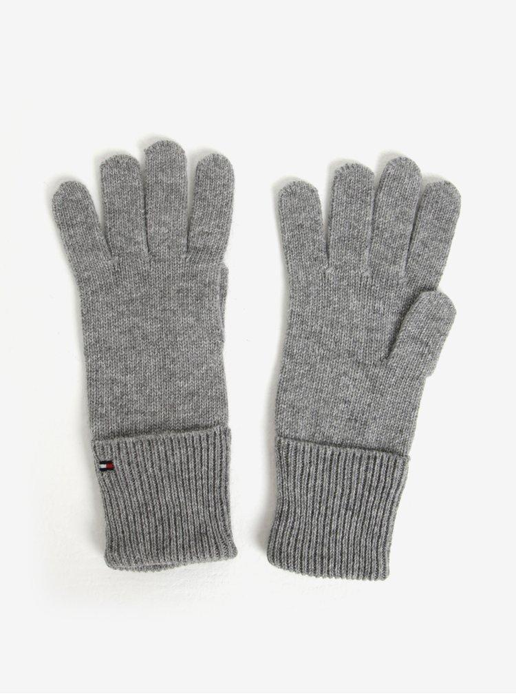 Set dámské čepice a rukavic v šedé barvě a v dárkové krabičce Tommy Hilfiger