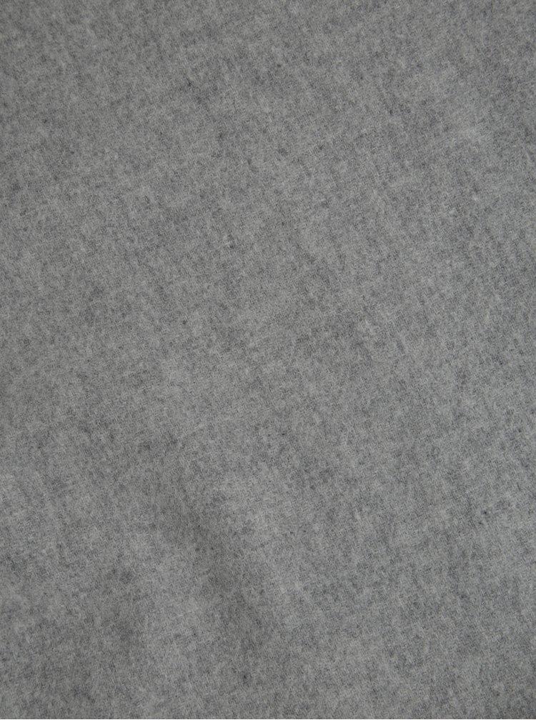 Světle šedá dámská vlněná šála s třásněmi Tommy Hilfiger