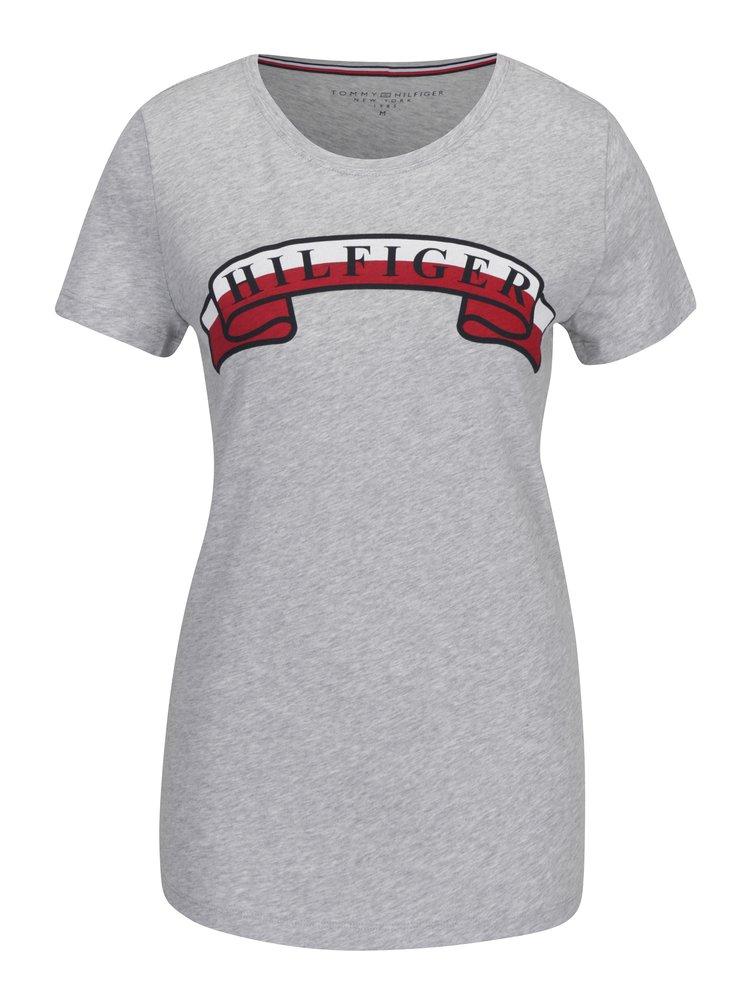 Světle šedé žíhané dámské tričko s potiskem Tommy Hilfiger
