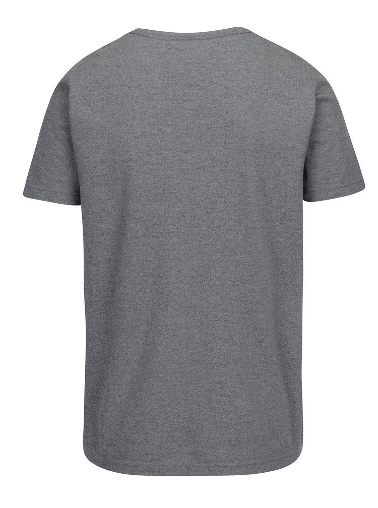 Sivé pánske melírované tričko s krátkym rukávom Tommy Hilfiger Pando