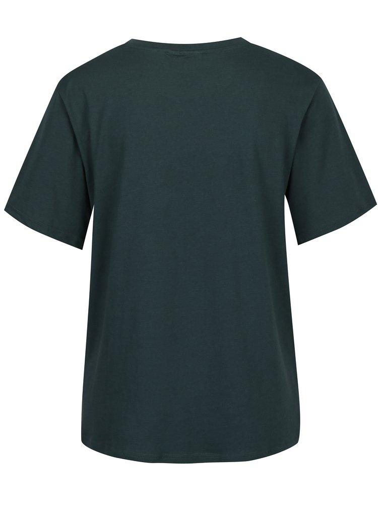 Tricou verde inchis cu print logo Cheap Monday