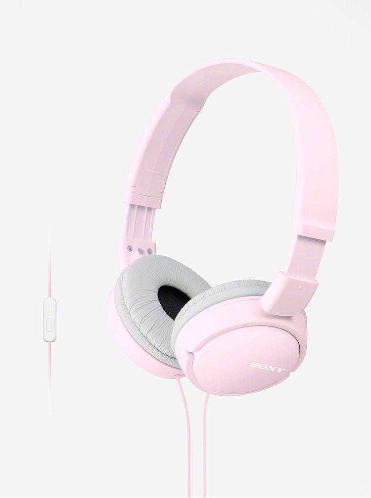 Růžová skládací sluchátka s mikrofonem Sony