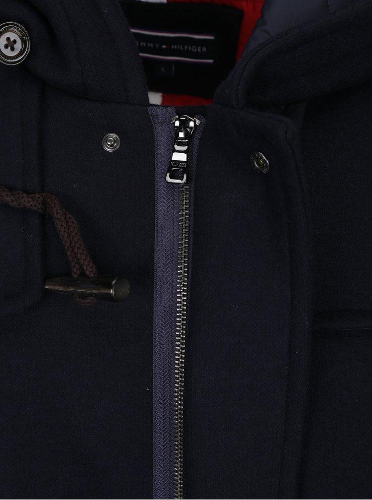 Tmavě modrý pánský zimní vlněný kabát Tommy Hilfiger Jersey