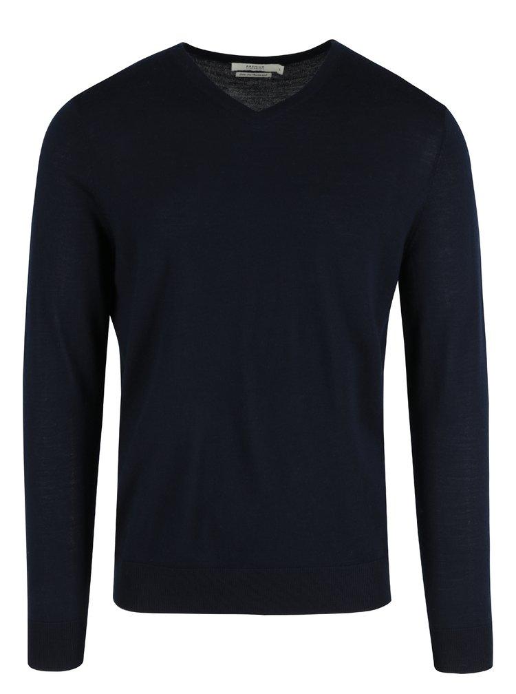 Tmavě modrý vlněný svetr s véčkovým výstřihem Jack & Jones Premium Mark