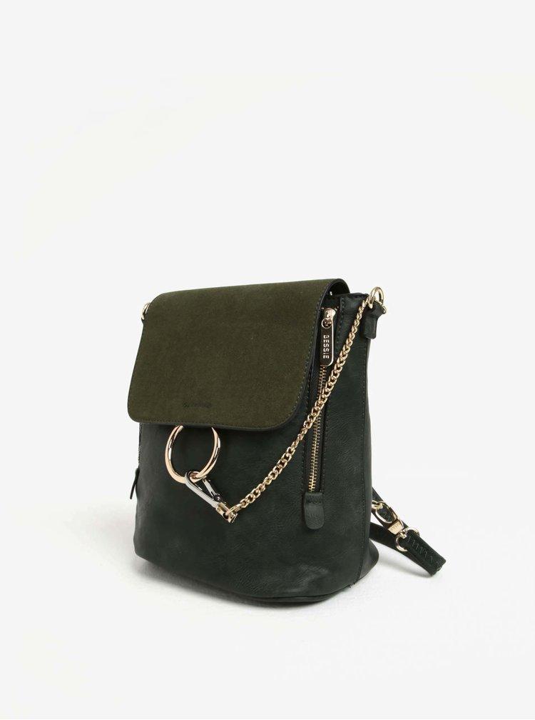 Rucsac/geanta crossbody verde inchis cu clapa  Bessie London