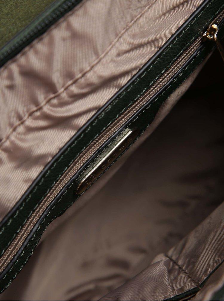 Tmavě zelený batoh/kabelka s detaily ve zlaté barvě Bessie London