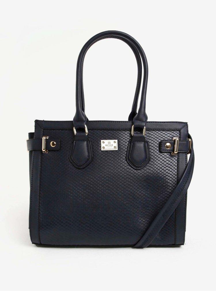 Tmavě modrá kabelka s hadím vzorem Bessie London