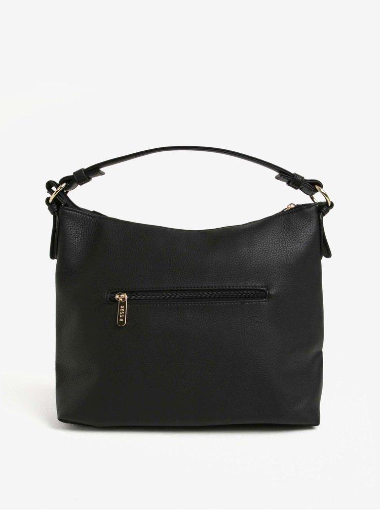 Čierna kabelka s chlopňou v semišovej úprave a ozdobou Bessie London