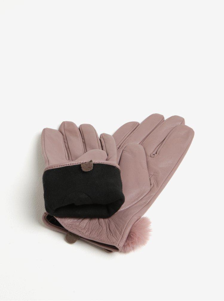 Starorůžové kožené rukavice Dorothy Perkins