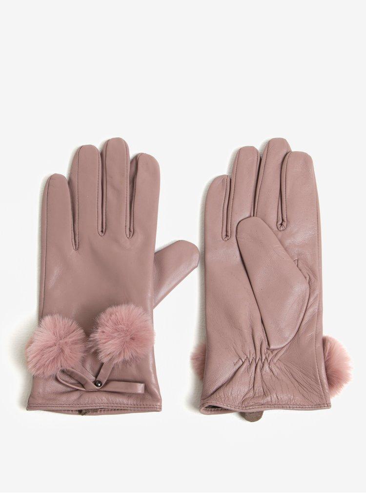 Manusi roz prafuit din piele cu pom pom Dorothy Perkins