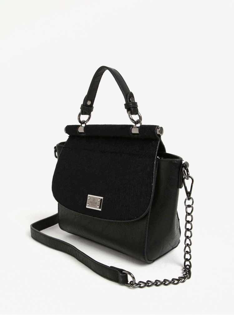 Geanta crossbody neagra cu clapa din lana artificiala  Bessie London