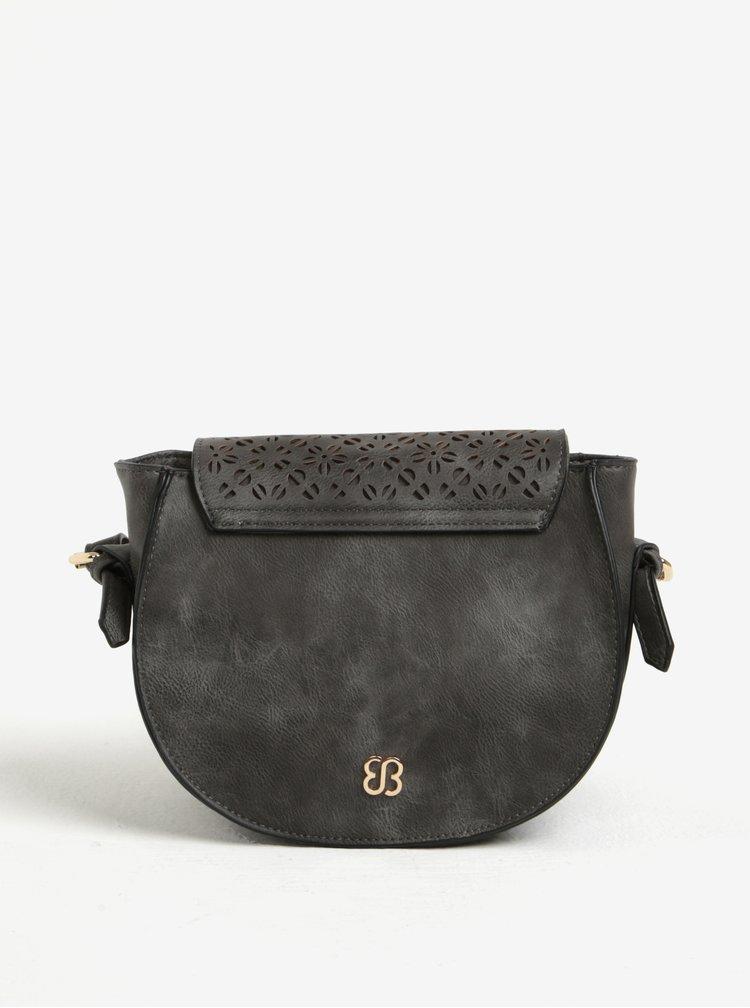 Tmavě šedá perforovaná crossbody kabelka Bessie London