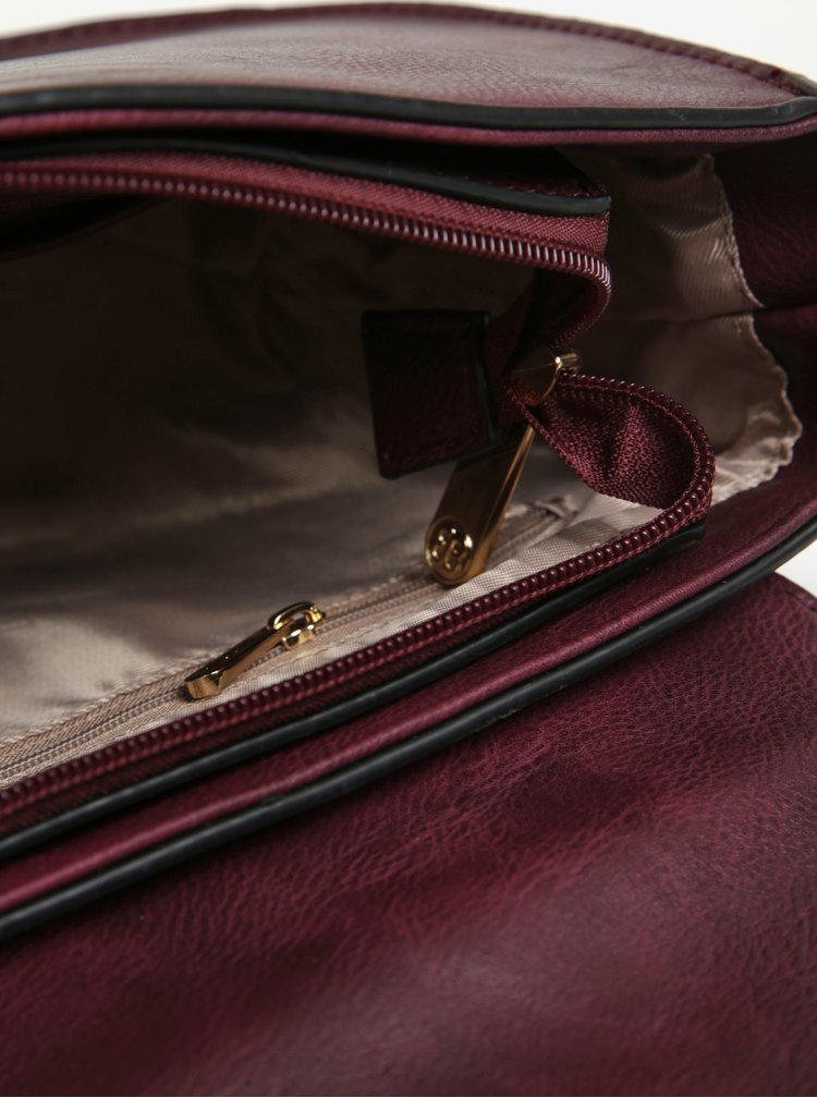 Geanta crossbody bordo cu perforatii - Bessie London