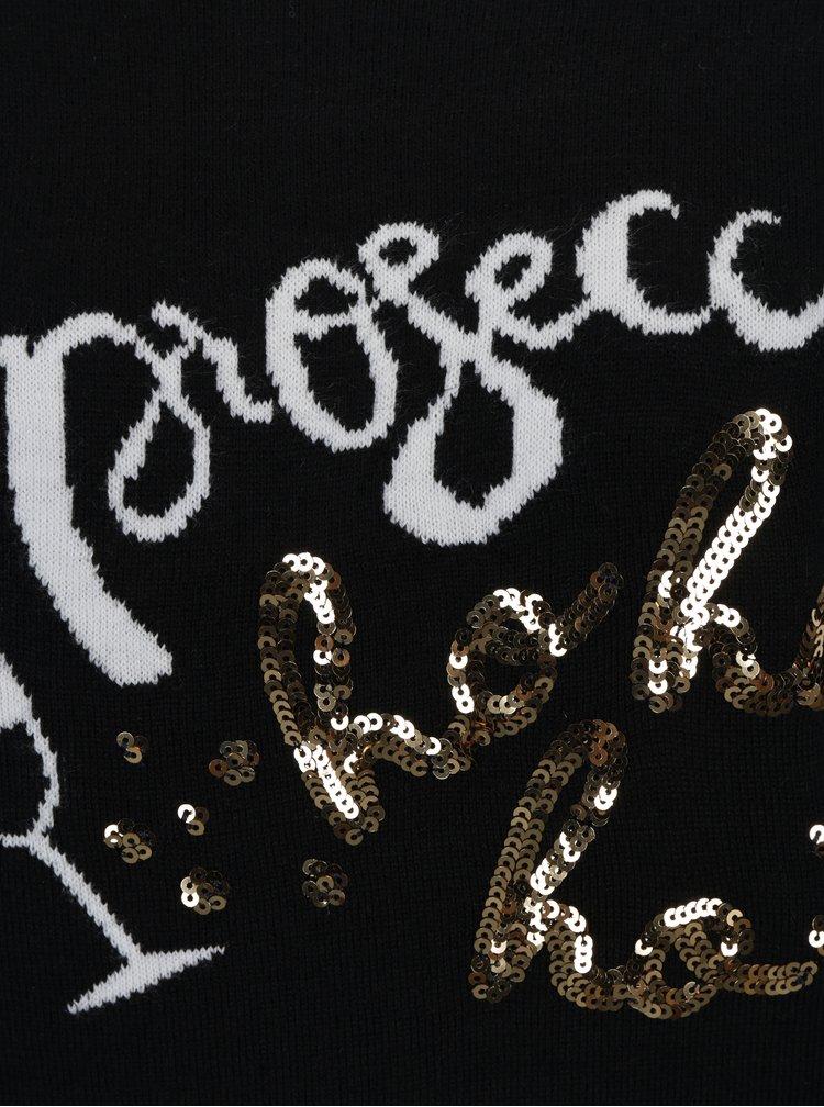 Pulover negru cu broderie si paiete cu tematica festiva Dorothy Perkins