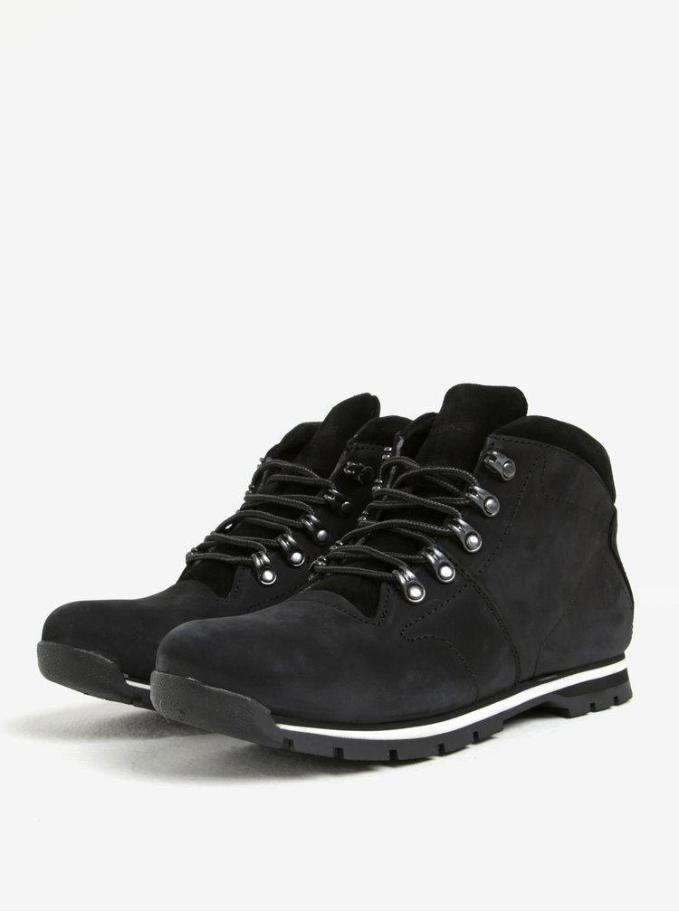 Černé pánské kožené kotníkové boty Weinbrenner