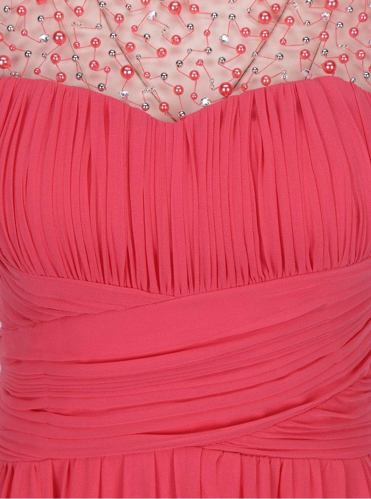 Růžové maxišaty s plisovaným topem a korálky Little Mistress