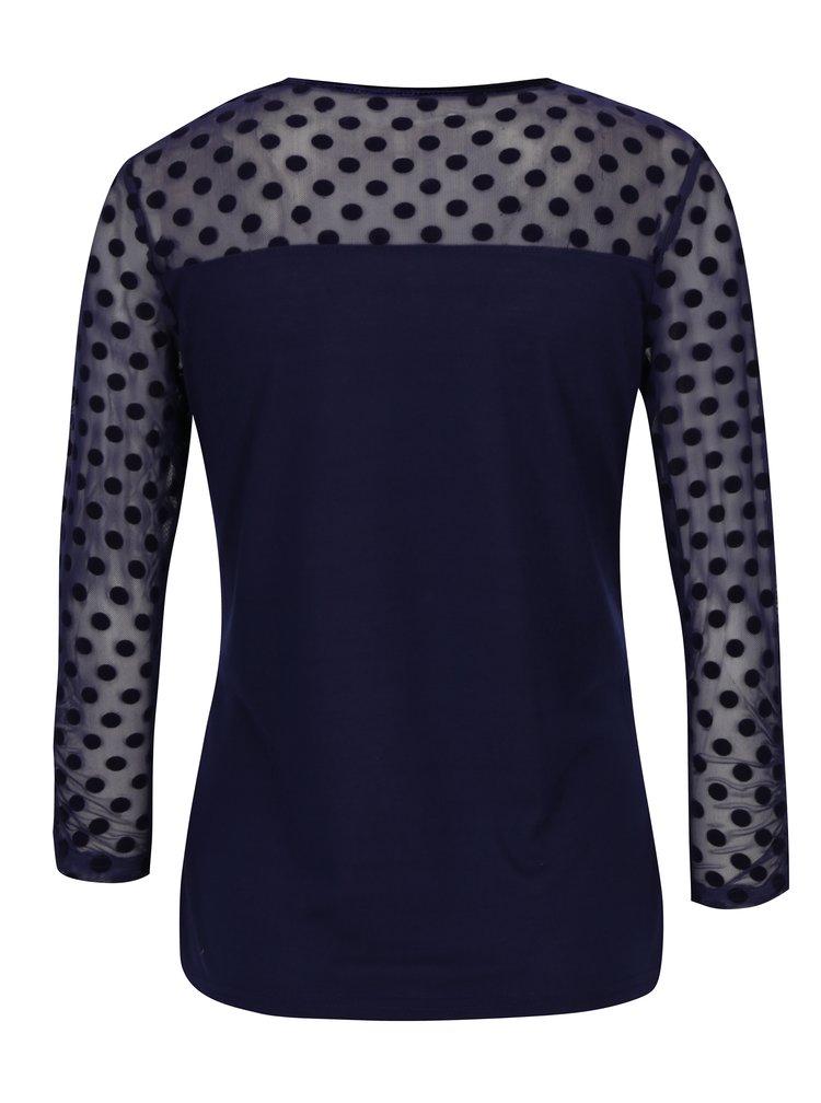 Bluza bleumarin din plasa cu buline catifelate si maneci 3/4  Dorothy Perkins