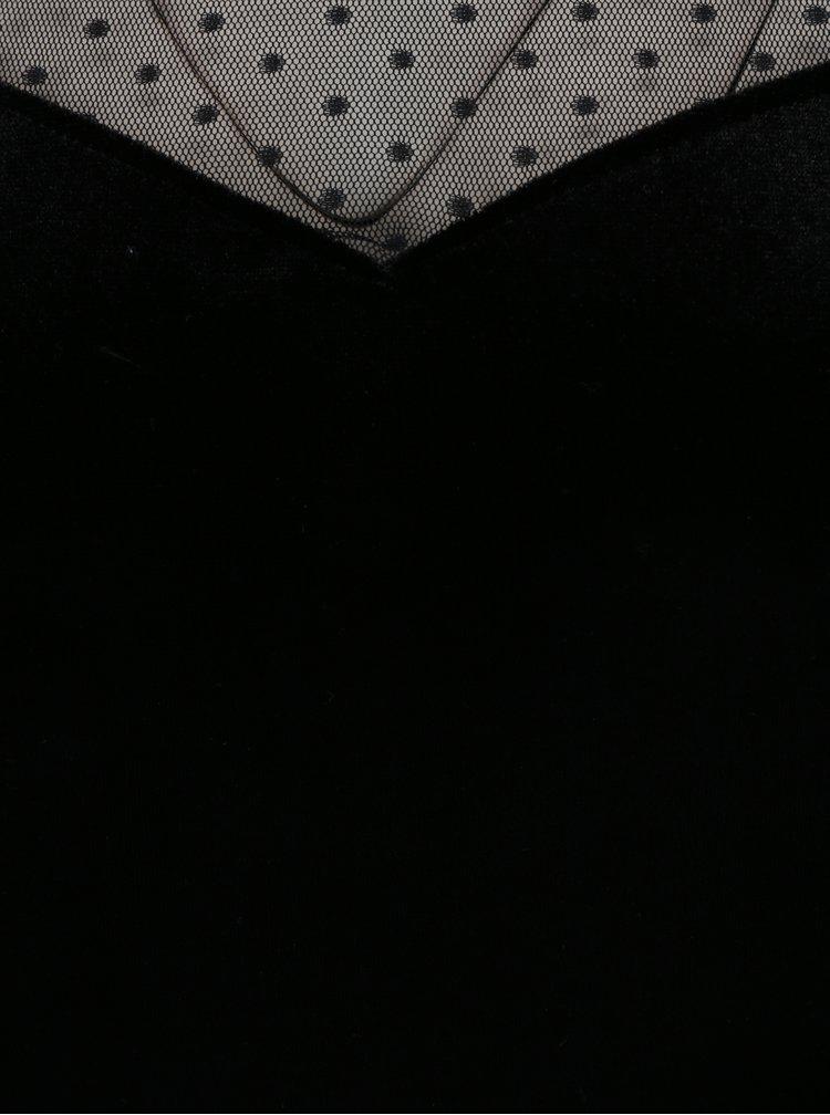 Černý sametový top s průsvitnými puntíkovanými rukávy a dekoltem Dorothy Perkins