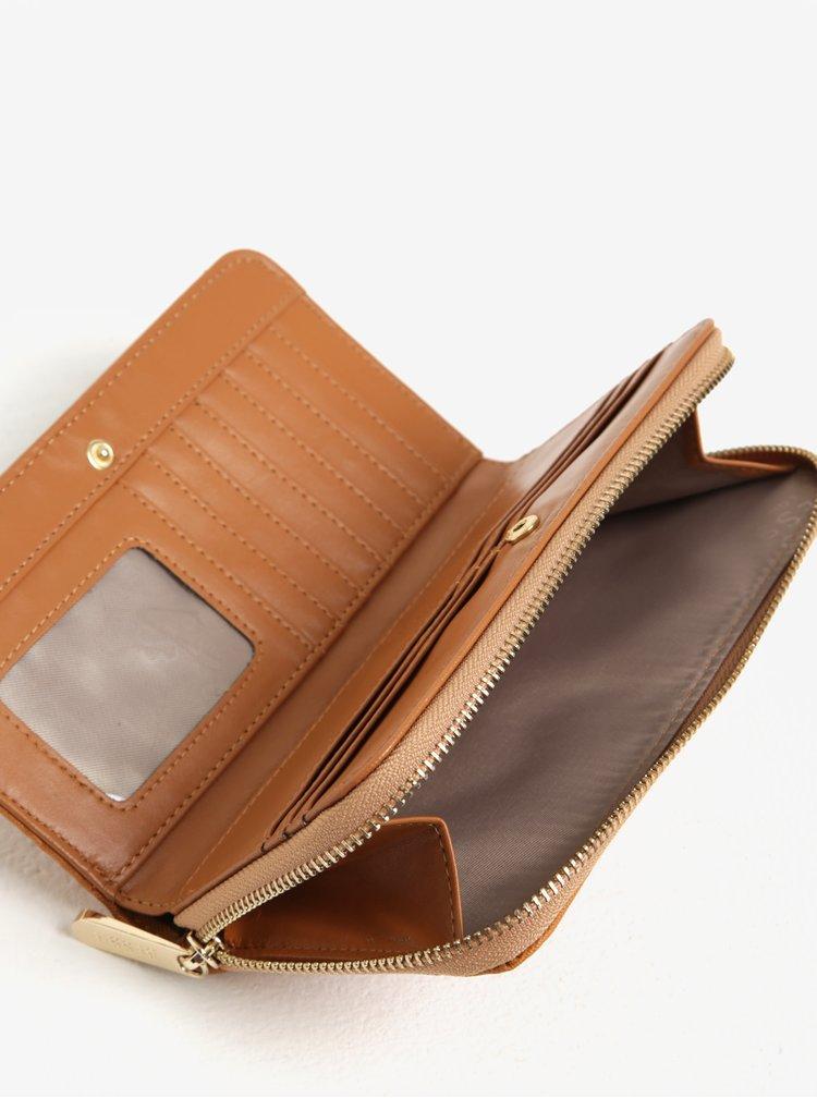 Hnědá velká peněženka s detailem v semišové úpravě Bessie London