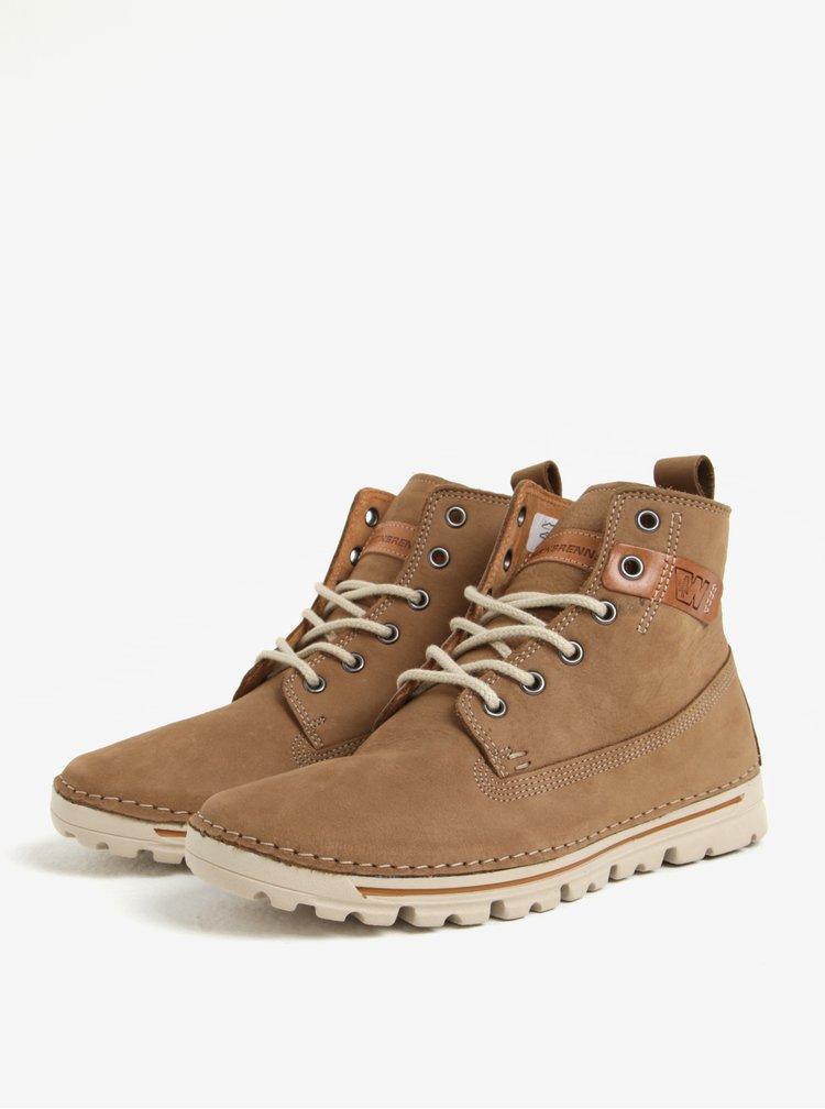 Hnědé dámské kožené kotníkové boty Weinbrenner