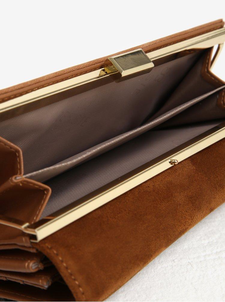Hnedá vzorovaná peňaženka s detailmi v zlatej farbe Bessie London