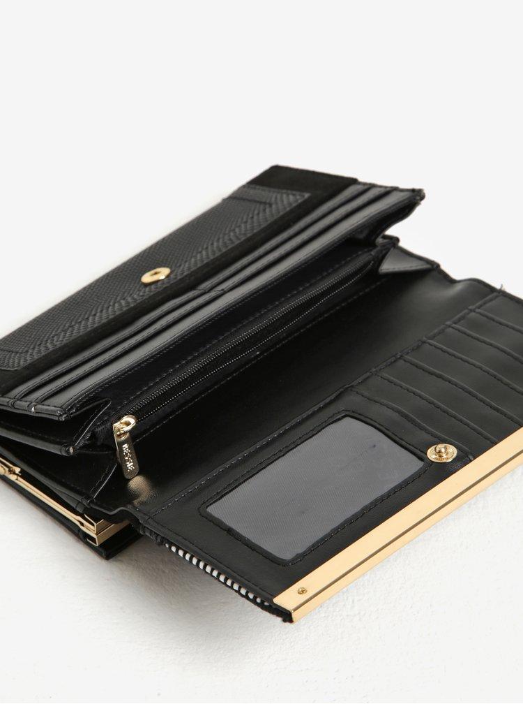 Černá vzorovaná peněženka s detaily ve zlaté barvě Bessie London