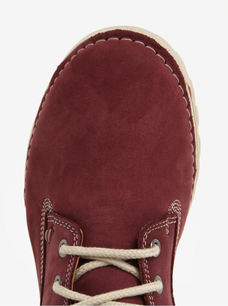 Vínové dámské kožené kotníkové boty Weinbrenner