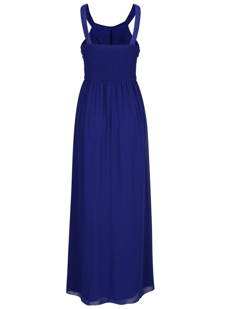Rochie lunga albastra cu pliseuri si aplicatii decorative - Little Mistress