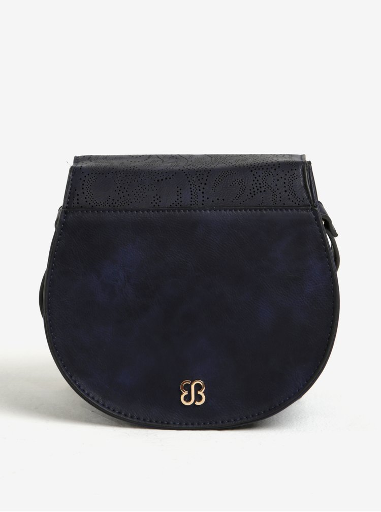 Geanta crossbody bleumarin cu perforatii si detalii aurii - Bessie London