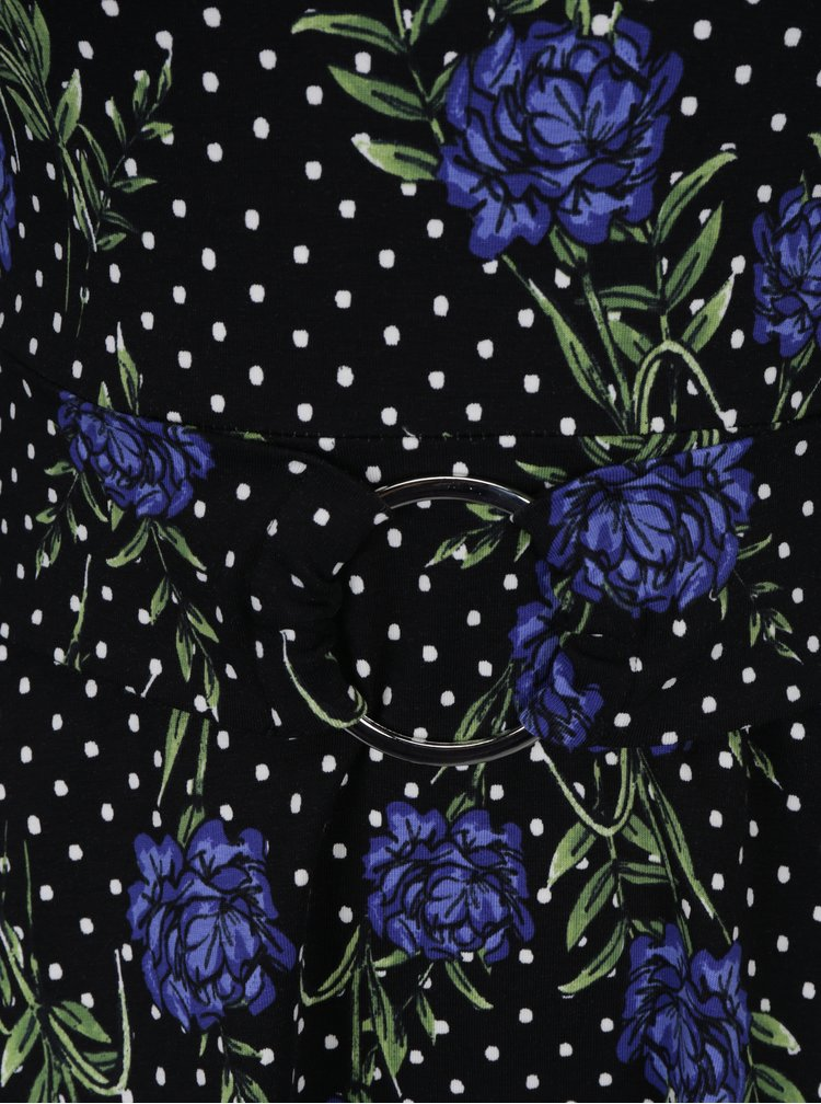 Černé puntíkované šaty s páskem Dorothy Perkins