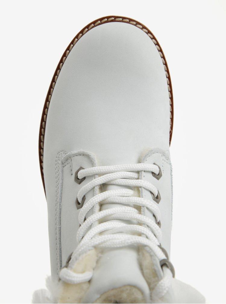 Biele vodovzdorné zimné členkové kožené topánky s vlnenou podšívkou Tamaris