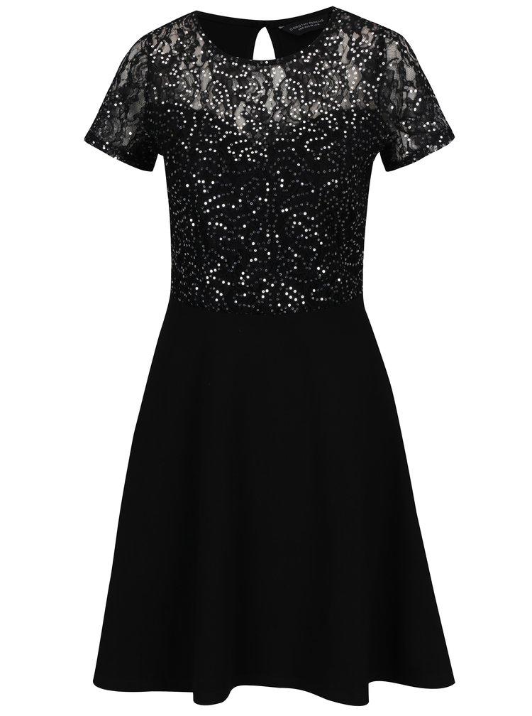 Černé šaty s flitrovaným topem Dorothy Perkins