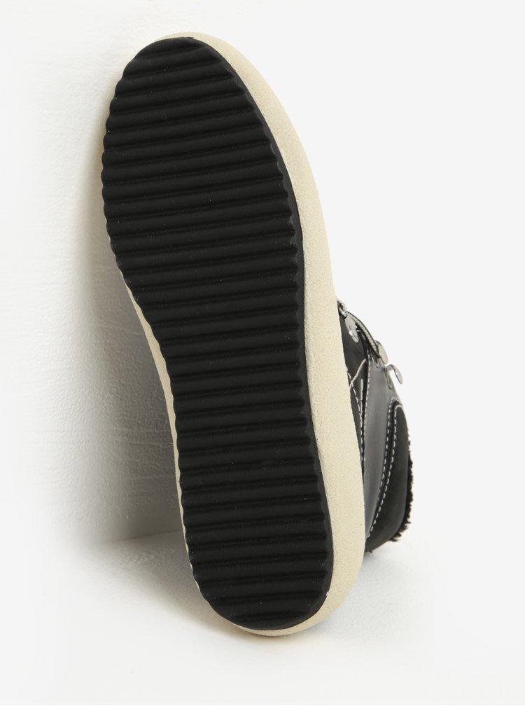 Černé dámské kožené zateplené kotníkové boty GANT Amy