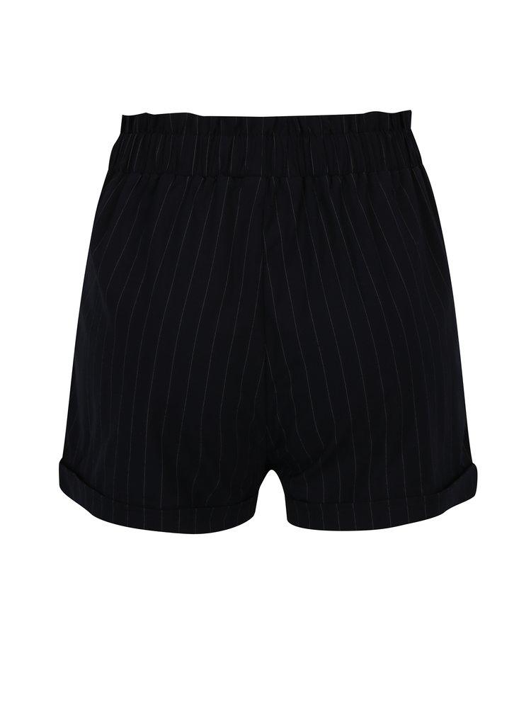 Pantaloni scurti negri cu dungi si funda in talie - TALLY WEiJL