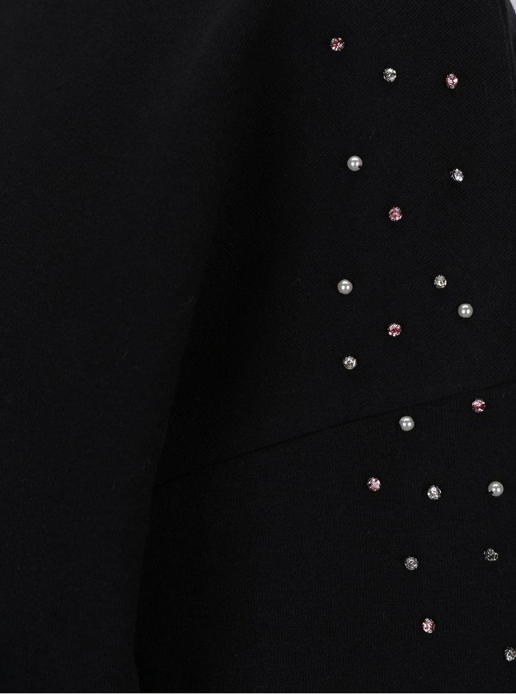 Černá mikina s aplikací ve tvaru perel a výšivkou TALLY WEiJL
