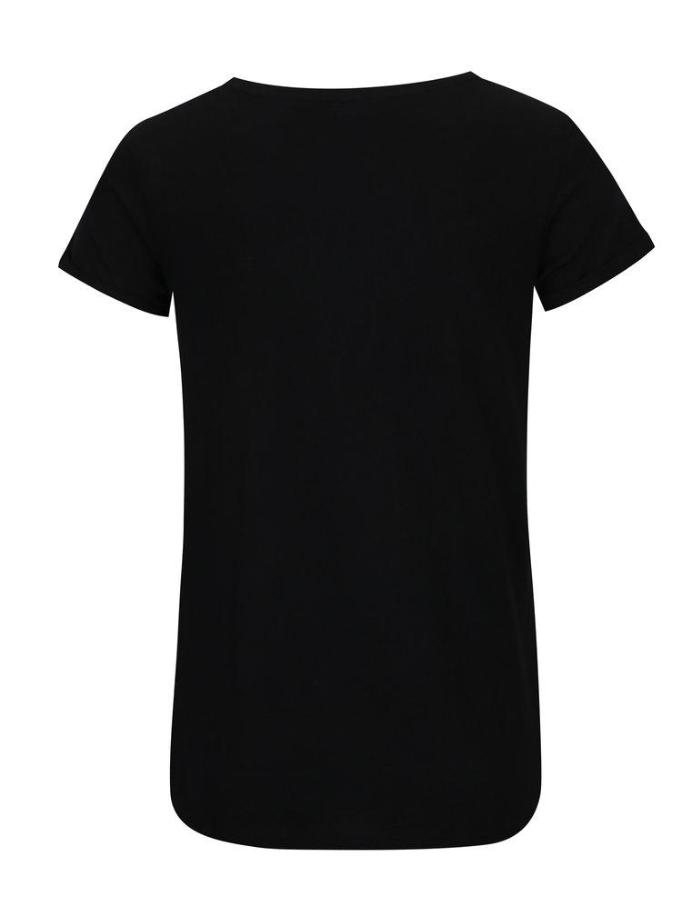 Tricou negru cu mesaj si aplicatie urs panda - TALLY WEiJL