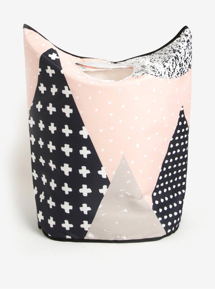 Modro-růžový vzorovaný koš na prádlo Butter Kings