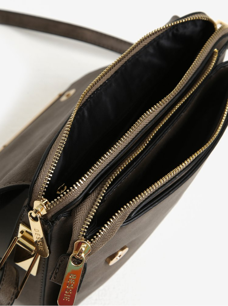 Černo-šedá crossbody kabelka s klopou Bessie London