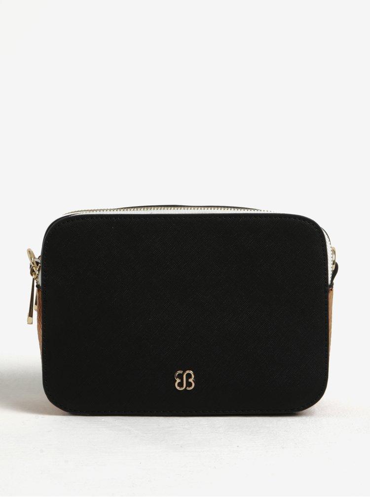 Hnedo-čierna crossbody kabelka so zipsom v zlatej farbe Bessie London