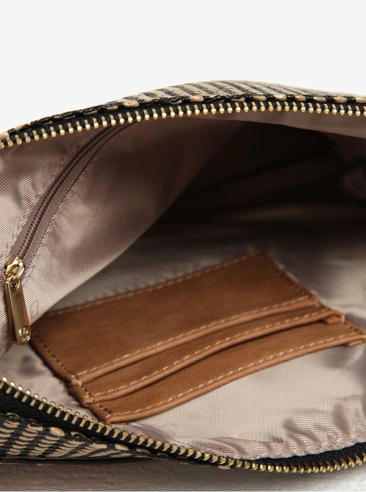 Čierno-hnedá vzorovaná listová kabelka so strapcom Bessie London